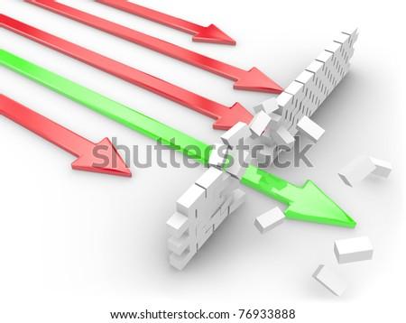 A green arrow breaks through a brick wall - stock photo