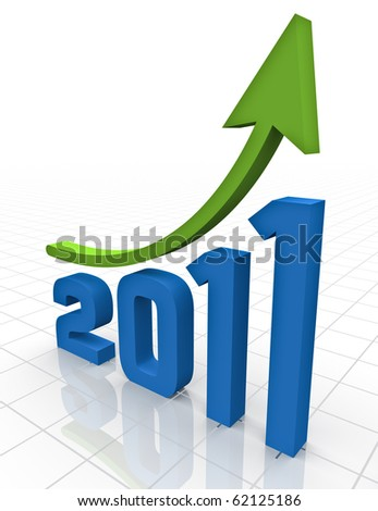 A green arrow moving upwards over the 3D rendering of the year 2011 on a white reflective grid background - stock photo