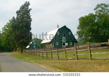 A green barn near President James Madison's home in rural Virginia - stock photo