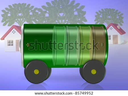 A green battery with wheels attached with houses and trees in the background / Green electric car