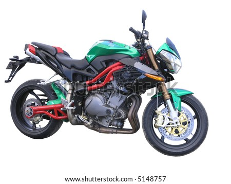 A Green Benelli Motorbike - stock photo