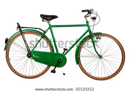a green bike on a white background - stock photo
