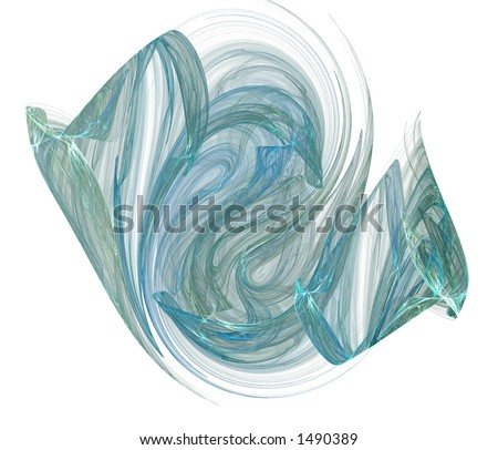 A green-blue gaseous vapor form rendered on a pure white background. - stock photo