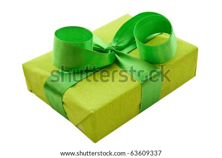 A green box tied with a green satin ribbon bow. A gift for Christmas, Birthday, Wedding, or Valentine's day. Isolated on white with clipping path. - stock photo