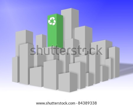 A green building in the middle of a gray city block / Environmentally friendly building - stock photo