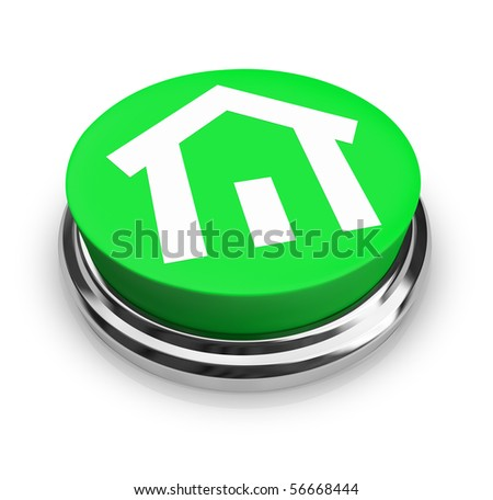 A green button with a symbol of a house on it - stock photo