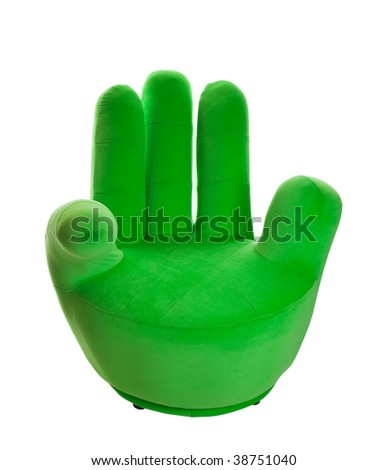 Charmant A Green Chair In The Shape Of A Hand. Shot On White Background.