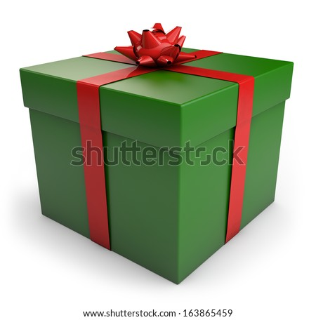 A green Christmas gift box with red ribbon. CLipping path included for easy selection.