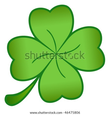 A green cloverleaf isolated on a white background - stock photo