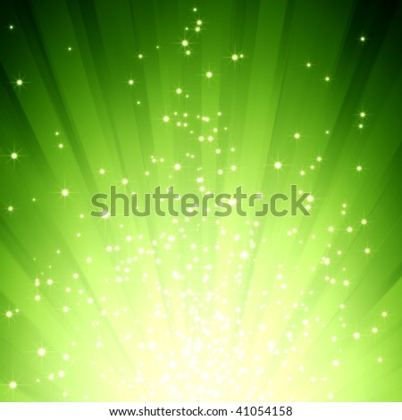A green color design with burst light and stars - stock photo