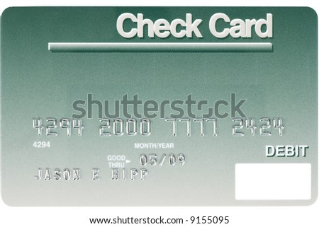 A green credit card shot straight on. Numbers are fake. - stock photo
