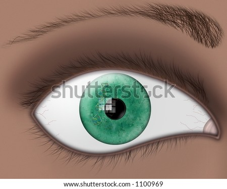 A green eye reflects a strand of dna and genetic code - stock photo