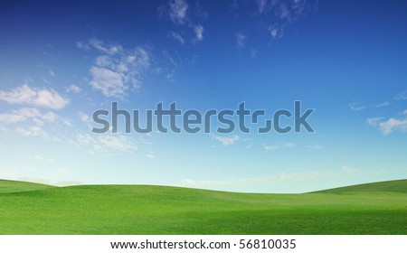A green field with blue sky and clouds