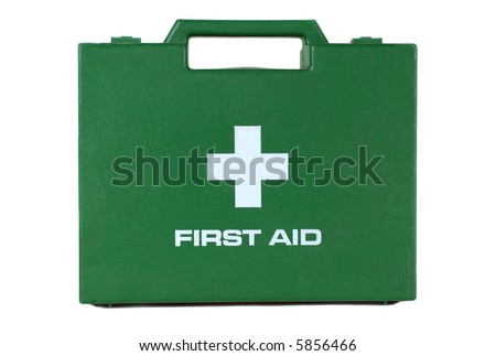A green first aid kit box with a handle on a white background - stock photo