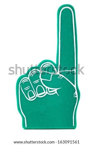 a green foam fan finger on a white background - stock photo