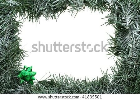 A green garland border isolated on a white background, garland border - stock photo