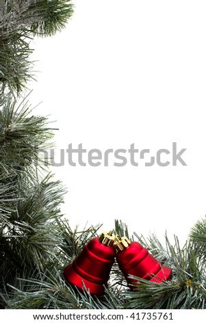 A green garland border with Christmas bells isolated on a white background, garland border - stock photo
