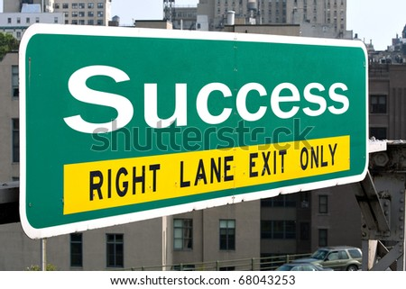 A green highway sign with the word Success on it.  Great for business concepts. - stock photo