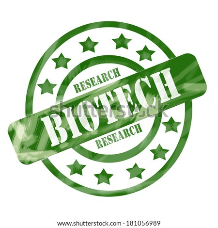 A green ink weathered roughed up circles and stars stamp design with the words BIOTECH RESEARCH on it making a great concept.