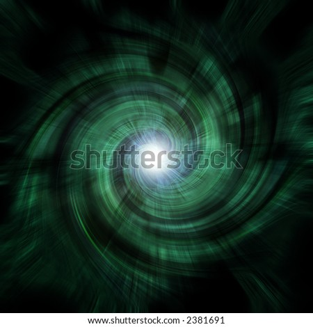 A green-ish, spiraling tunnel vortex - complete with a central lens flare at the focal point.