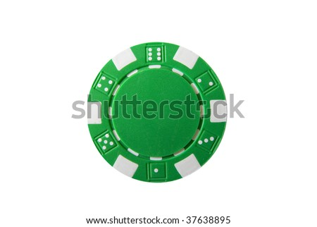 A green isolated poker chip - stock photo