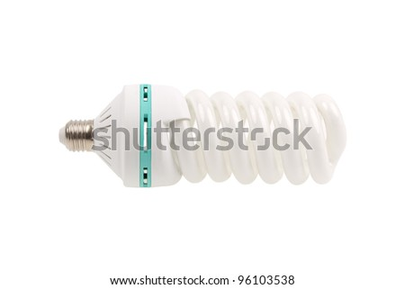 A green light bulb energy saving isolated on white background. A spiral fluorescent lightbulb low power consumption. - stock photo