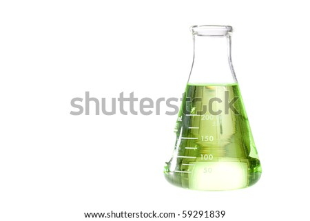 A green liquid in an erlenmeyer flask isolated on a white background. - stock photo