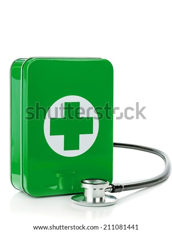 A green metal first aid box with stethoscope on a white background