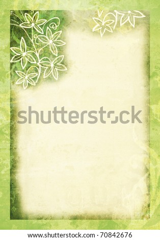 A green pastel paper with floral borders. - stock photo