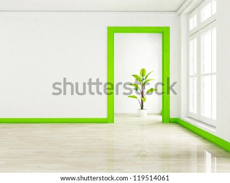 a green plant in the empty room near a window, rendering - stock photo