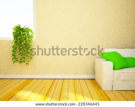 a green plant on the windowsill, 3D rendering