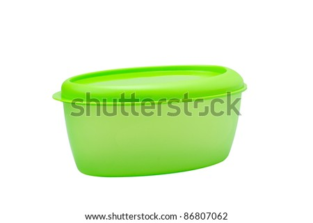 A green plastic box for food storage