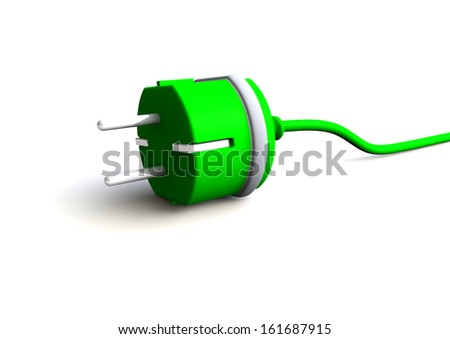 a green plug with cable