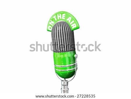 A green retro antique microphone. - stock photo