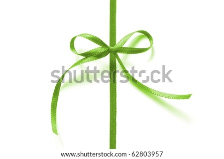 a green ribbon with bow isolated on white background