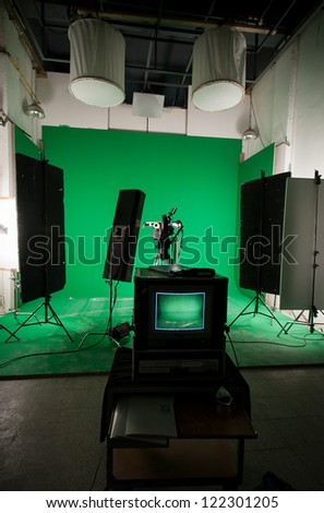 A green screen studio ready to shoot - stock photo