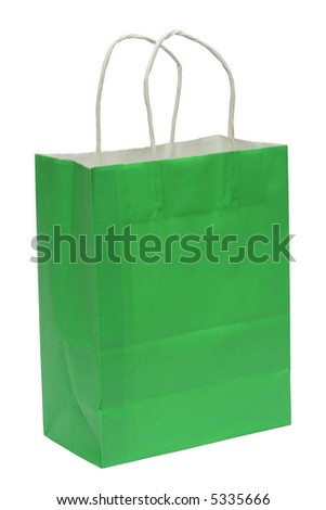 A green shopping bag isolated on a white background