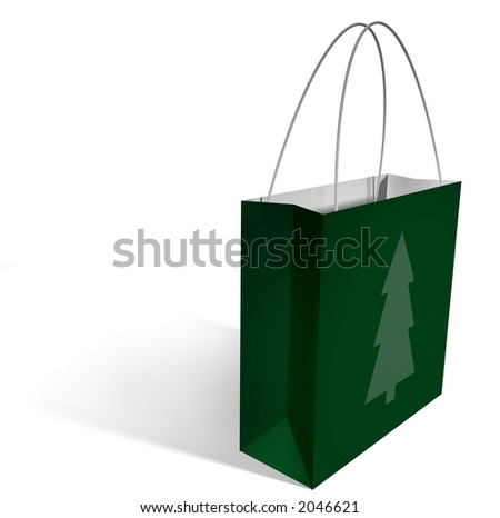 a green shopping bag with a single green christmas tree printed on it, with a clipping path.