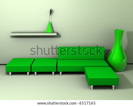 A green sofa, three stool and decoration - rendered in 3d