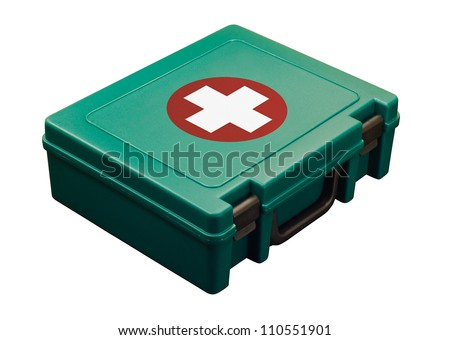 A green standard First aid kit, used to provide urgent emergency treatment at school, work or in the home. Isolated with clipping path - stock photo