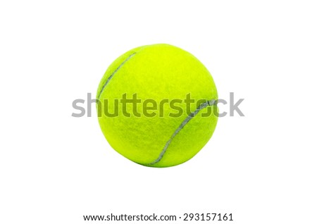 a green tennis ball on the white background - stock photo
