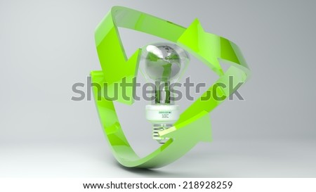 A green transparent 3D Rendering of Earth surrounded by the recycle symbol/Recycle Earth and Lamp - Stock Image - stock photo