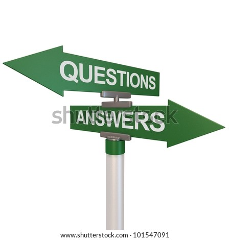 A green two-way street sign pointing to the words Questions and Answers. - stock photo
