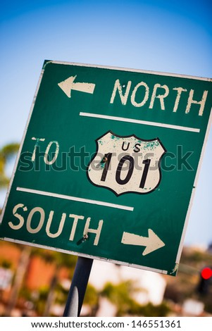A green US 101 South highway sign background - stock photo
