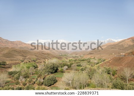 A green valley and a big snowy mountain In the horizon on a misty in the Atlas Mountains in Morocco in the spring. - stock photo
