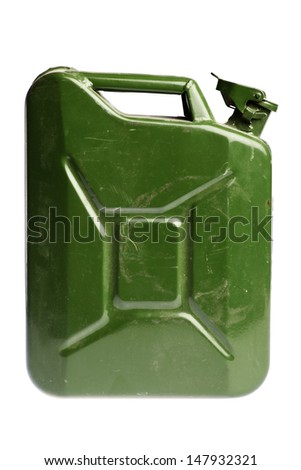 A green vintage and dirty jerrycan isolated on white - stock photo