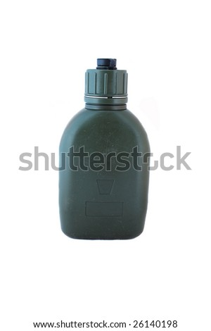 A green waterbottle, use by military, isolated in white - stock photo