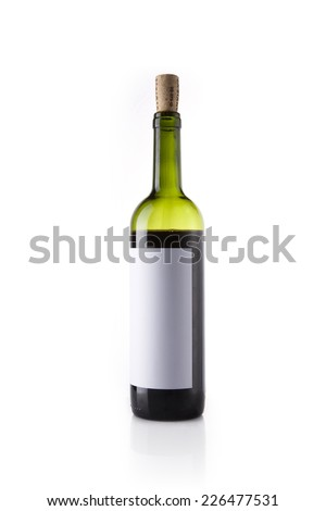 A green wine bottle with blank label reflective bottom isolated white. - stock photo