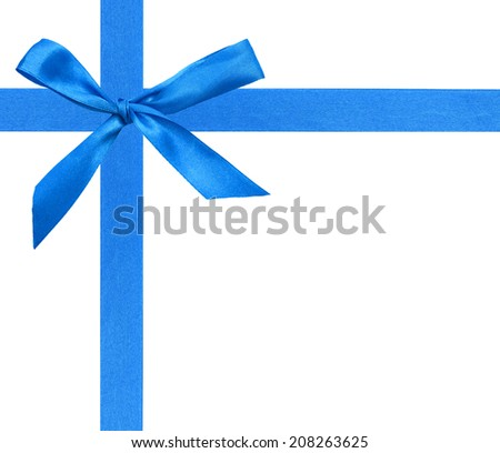 A greeting wrapping bow in blue style  - stock photo