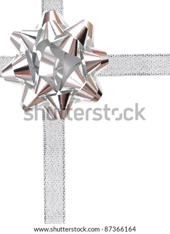 A greeting wrapping bow in silver style - stock photo
